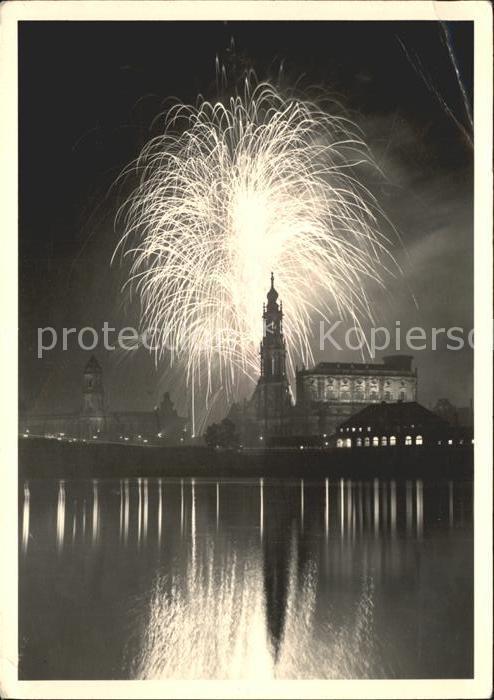 Dresden Hofkirche Feuerwerk Kat. Dresden Elbe