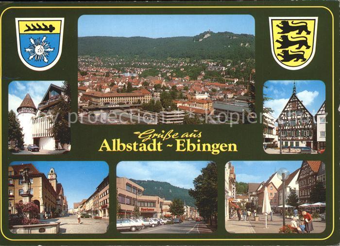 Ebingen Totalansicht Brunnen Strassenpartie Fachwerkhaus / Albstadt /Zollernalbkreis LKR