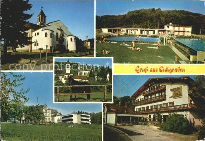Eichgraben Kirche Schwimmbad Restaurant Wienerwald Pferd Kirche Kat. Eichgraben