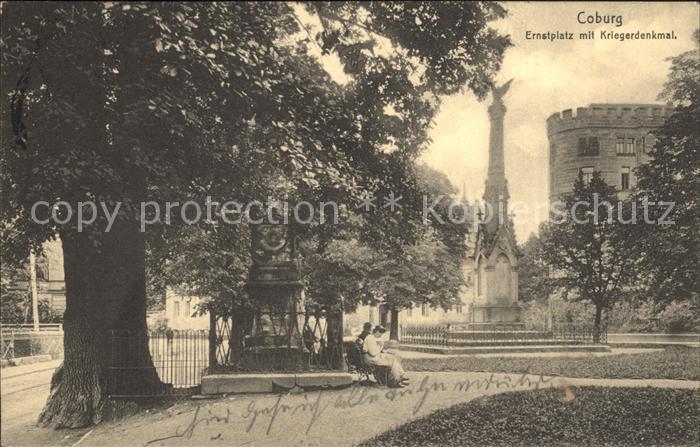 Coburg Ernstplatz mit Kriegerdenkmal Kat. Coburg