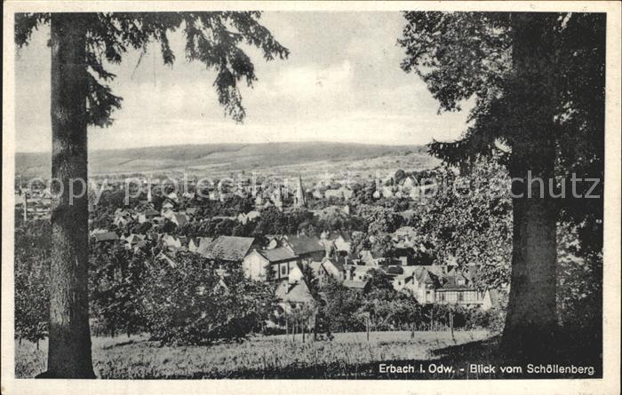 Erbach Odenwald Blick vom Schoellenberg Kat. Erbach