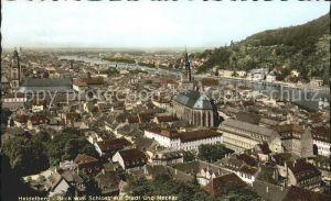 Heidelberg Neckar Blick vom Schloss auf Stadt und Neckar Kat. Heidelberg