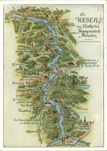 Vlotho Landkarte Weser von Vlotho bis Hannoversch Muenden Kat. Vlotho
