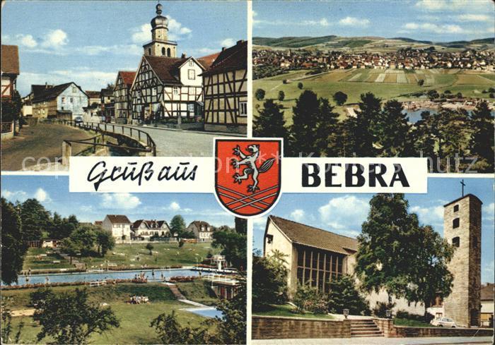 Bebra Strassenpartie Totalansicht Schwimmbad Kirche Kat. Bebra