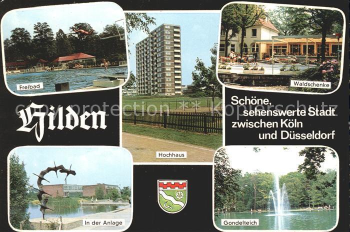 Hilden Mettmann Hochhaus Freibad Gondelteich Waldschenke  Kat. Hilden