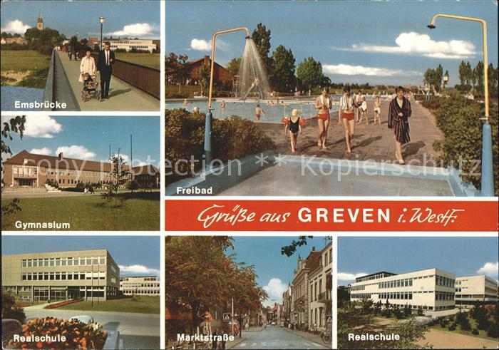 Greven Westfalen Emsbruecke Freibad Realschule Marktstrasse  Kat. Greven