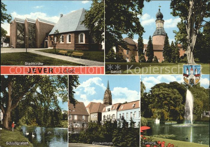 Jever Schloss Glockenturm Fontaene Schlossgraben Kat. Jever