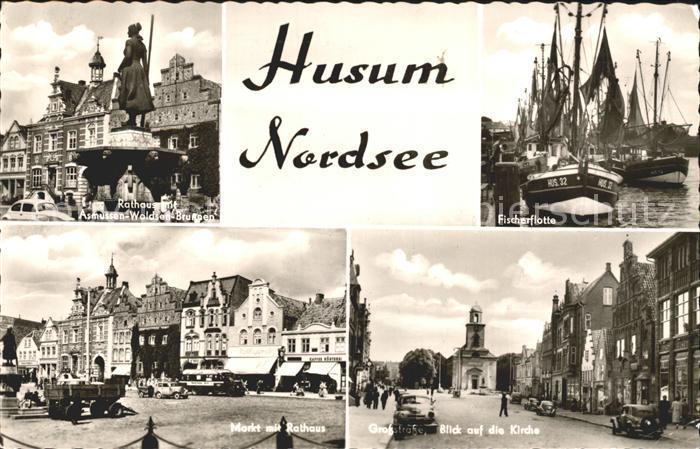 Husum Nordfriesland Rathaus Asmussen Woldsen Brunnen Fischerflotte Kirche Markt