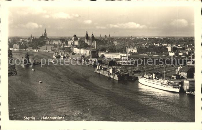 Stettin Westpommern Hafenansicht Dampfer Kat. Szczecin