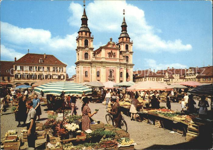 ludwigsburg markt und evangelische stadtkirche kat ludwigsburg nr kf55566 oldthing. Black Bedroom Furniture Sets. Home Design Ideas