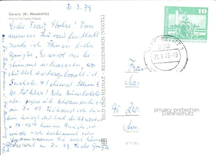 Carwitz Hans Fallada Haus Kat. Feldberger Seenlandschaft 1