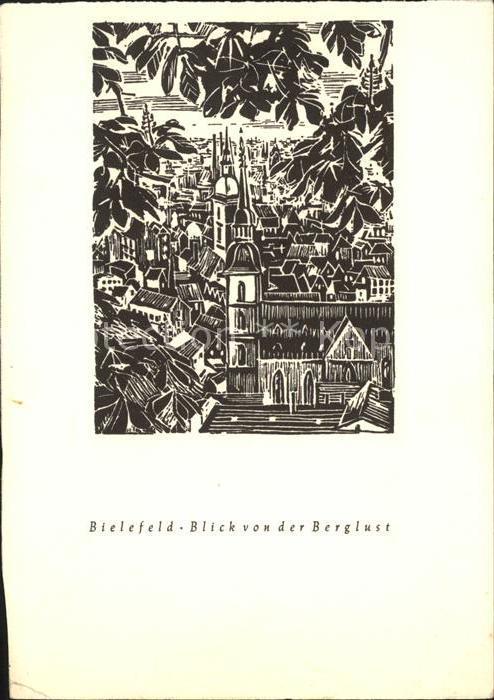 Bielefeld Blick von der Berglust Holzschnitt Kat. Bielefeld