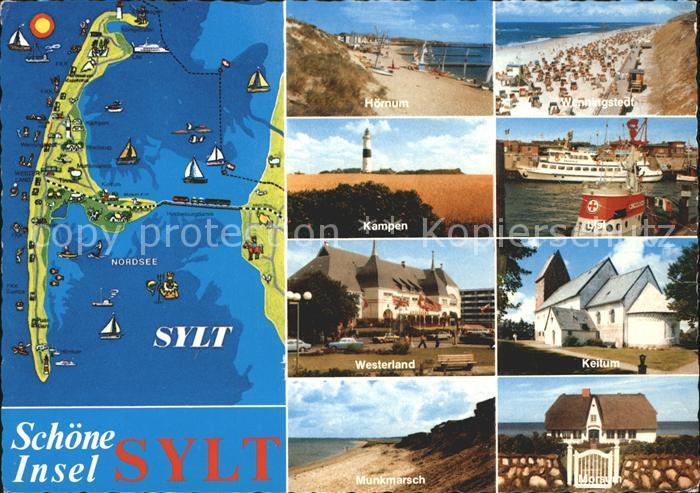 Insel Sylt Landkarte Teilansichten Strand Leuchtturm Kat. Westerland