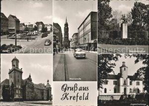 Krefeld Ostwall Rheinstr Husarendenkmal Amtsgericht Jugendherberge Kat. Krefeld