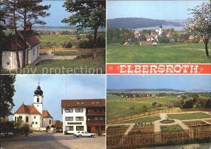 Elbersroth Kapelle Ortsblick Strassenpartie mit Kirche Panorama Kat. Herrieden