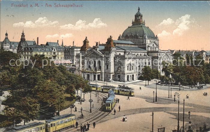 Frankfurt Main Schauspielhaus Strassenbahnen Kat. Frankfurt am Main
