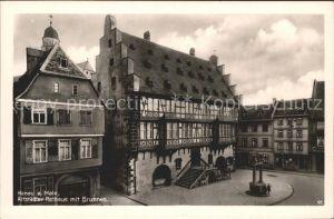 Hanau Main Altstaedter Rathaus mit Brunnen Kat. Hanau