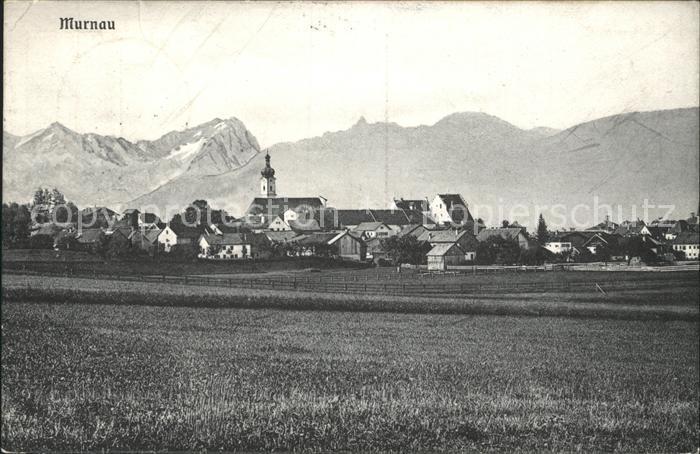Murnau Ortsansicht mit Kirche Alpenpanorama Kat. Murnau a.Staffelsee