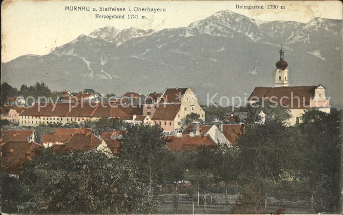 Murnau Ortsansicht mit Kirche Herzogstand Heimgarten Alpen Kat. Murnau a.Staffelsee