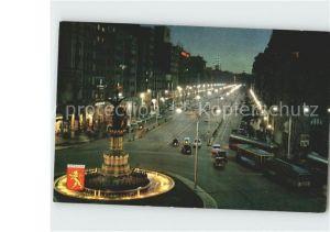 Zaragoza Aragon Nocturno Plaza de Espana y Avenida de la Independencia Kat. Zaragoza Saragossa