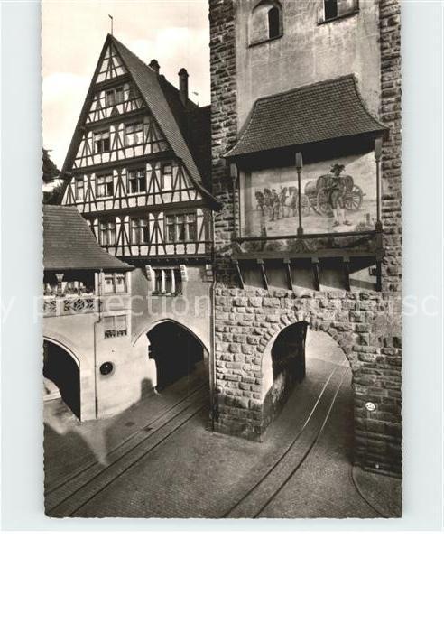 Freiburg Breisgau Gasthof zum Baeren Oberlinden mit Schwabentor Kat. Freiburg im Breisgau