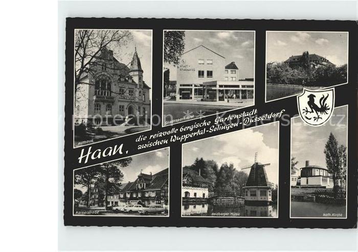 Haan Rheinland Rathaus Sparkasse Kaiserstr Heidberger Muehle Kath Kirche Kat. Haan