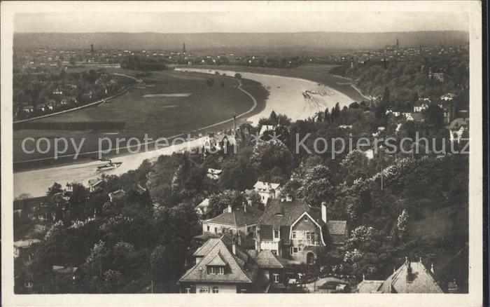 Loschwitz Panorama Blick vom Luisenhof nach Dresden Elbe Kat. Dresden