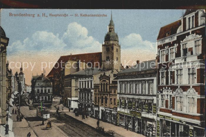 Brandenburg Havel Hauptstrasse St Katharinenkirche Strassenbahn Kat. Brandenburg