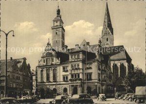 Ingolstadt Donau Rathaus mit Pfeifturm und Kirche Kat. Ingolstadt