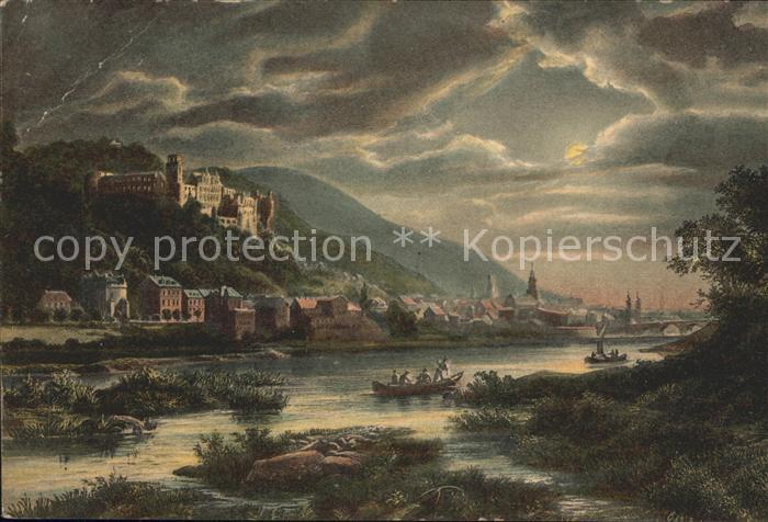 Heidelberg Neckar Schloss Blick von der Ziegelhaeuser Landstrasse Kat. Heidelberg