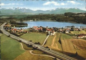 Seeham Campingplatz Seehamer See BAB Muenchen Salzburg Fliegeraufnahme Kat. Seeham