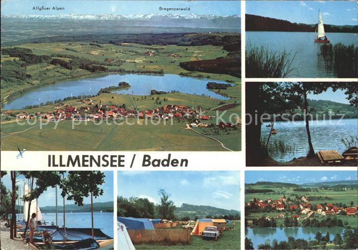 Illmensee Fliegeraufnahme Segelpartie Bootshafen Zeltplatz Ortsblick Kat. Illmensee