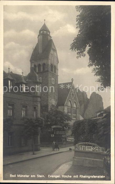Bad Muenster Stein Ebernburg Kirche mit Rheingrafenstein Kat. Bad Muenster am Stein Ebernburg