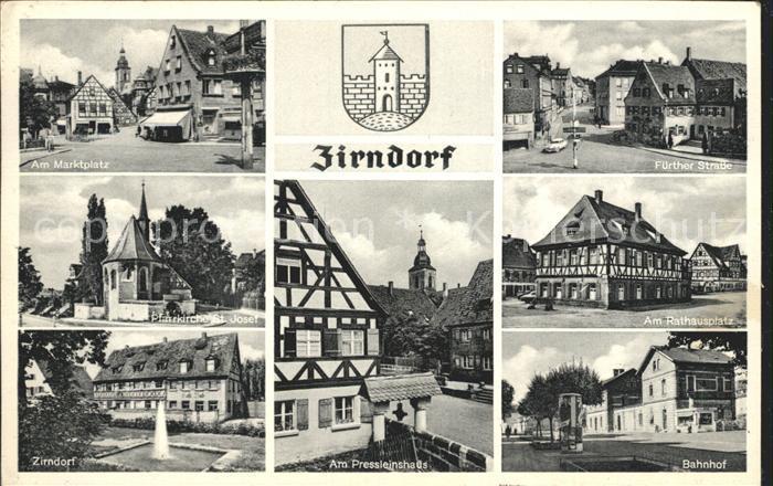 Zirndorf Mittelfranken Marktplatz Fuerther Str Pfarrkirche St Josef Rathaus platz Zirndorf Pressleinshaus Bahnhof Kat. Zirndorf