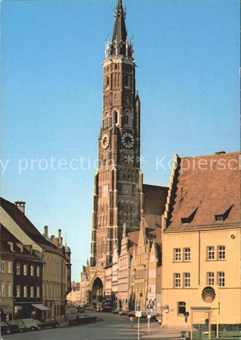 Landshut Isar Martinskirche mit Altstadt Kat. Landshut