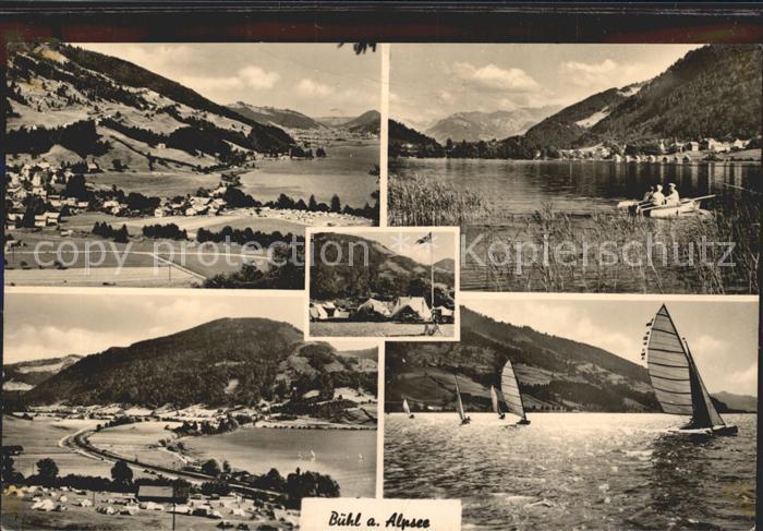 Buehl Alpsee Panorama Bootspartie Zeltplatz Strand Segelpartie Kat. Immenstadt i.Allgaeu