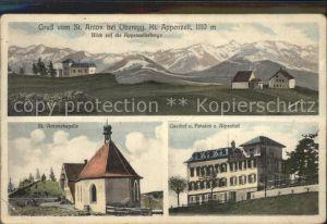 Oberegg IR St Anton mit Appenzeller Bergen St Antonskapelle Gasthof Pension Alpenhof Kat. Oberegg