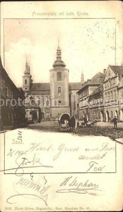 Saaz Tschechien Franzensplatz mit Kirche Kat. zatec