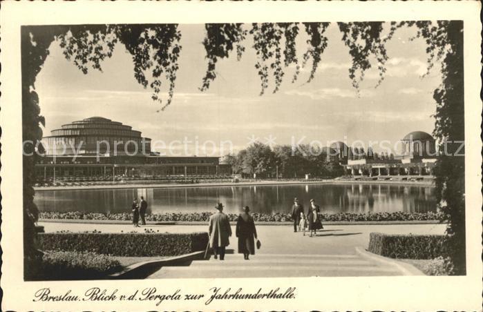 Breslau Niederschlesien Blick von der Pergola zur Jahrhunderthalle Kat. Wroclaw