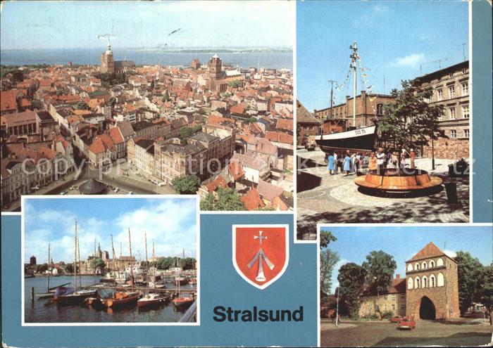 Stralsund Mecklenburg Vorpommern Stadtblick Kutter am Meeresmuseum Hafen Kniepertor Kat. Stralsund