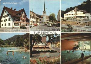 Turbenthal Wohlfahrtshaus Ortspartie Kirche Hotel Baeren Hallenbad Freibad Kat. Turbenthal