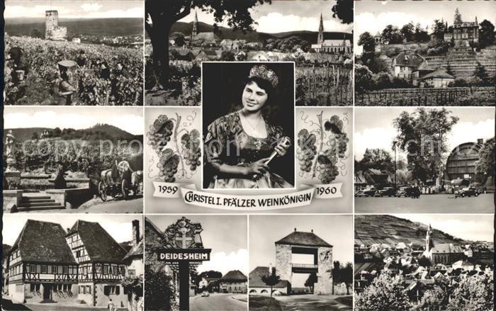 Deidesheim Burg Panorama Teilansichten Weinkoenigin Deidesheimer Fass Ortsschild Tor Kat. Deidesheim