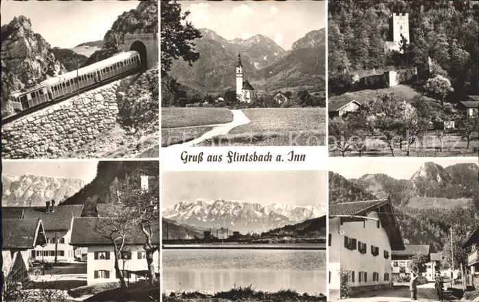 Flintsbach Inn Bergbahn Kirche Burg Dorfpartie Innpartie Kat. Flintsbach a.Inn
