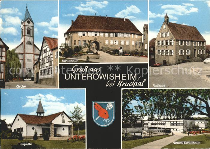 Unteroewisheim Kirche Kapelle Neues Schulhaus Rathaus Kat. Kraichtal