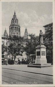 Mainz Rhein Gutenberg Denkmal Dom  / Mainz Rhein /Mainz Stadtkreis