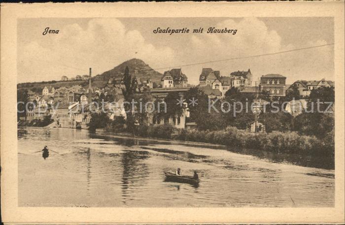 Jena Saalepartie mit Hausberg Ruderboot Kat. Jena