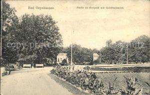 Bad Oeynhausen Partie im Kurpark mit Goldfischteich Bahnpost Kat. Bad Oeynhausen
