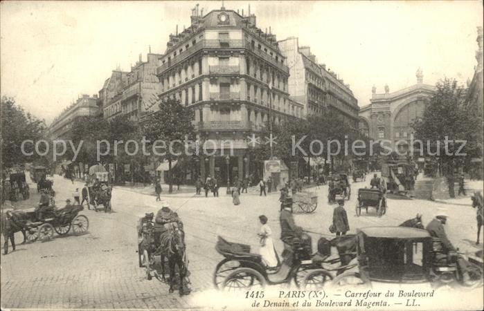 Paris Carrefour du Boulevard de Denain et du Boulevard Magenta Pferdedroschke Kat. Paris