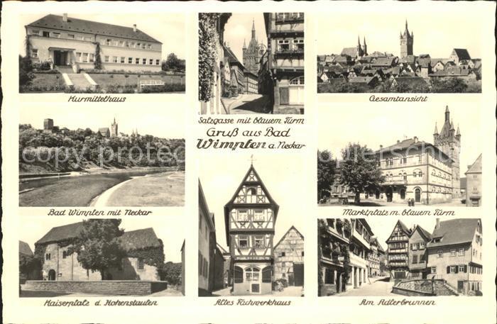 Bad Wimpfen Kurmittelhaus Neckar Kaiserpfalz Hohenstaufen Ruhrwerkhaus Brunnen Marktplatz Gasse Turm Kat. Bad Wimpfen