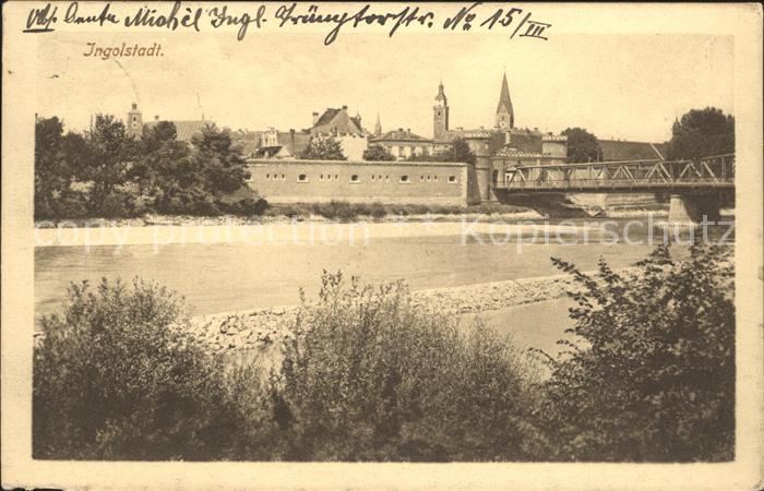 Ingolstadt Donau Ansicht vom Donauufer aus Bruecke Kat. Ingolstadt